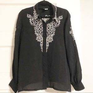 Bob Mackie Wearable Art Black/White Silk Blouse-L